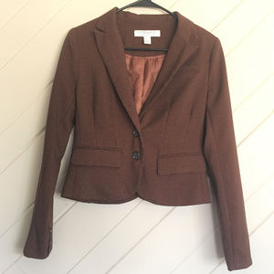 Forever 21 Essentials Cropped Blazer Small Brown